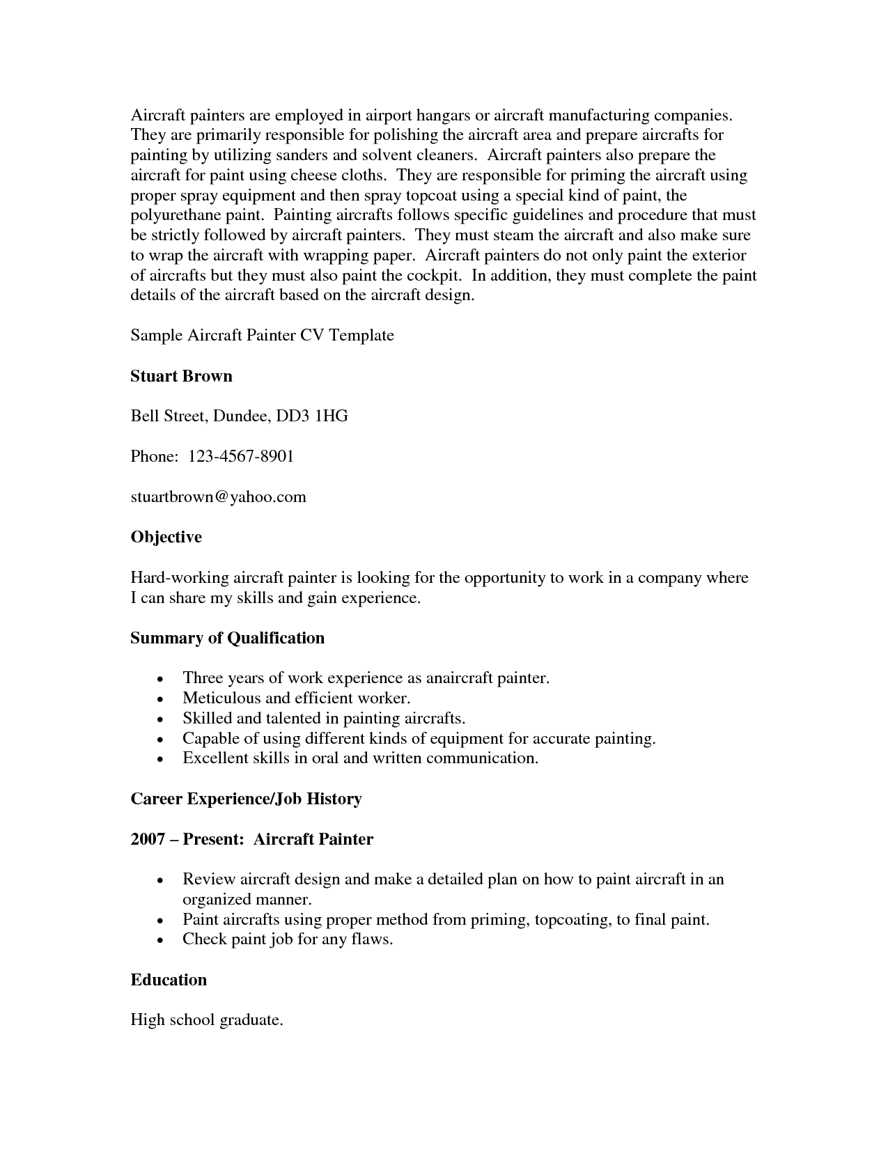 Painters Resume Sample Objective Summary Of Qualifications  Objective Summary For Resume