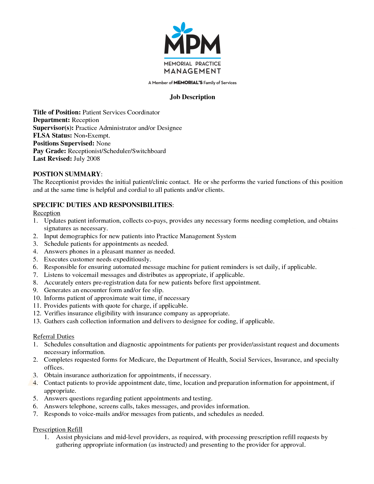 Patient Care Coordinator Resume Specific Duties And