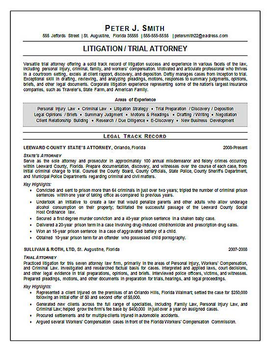 Resume Legal Trial Attorney Resume Example  Sample Law Resume