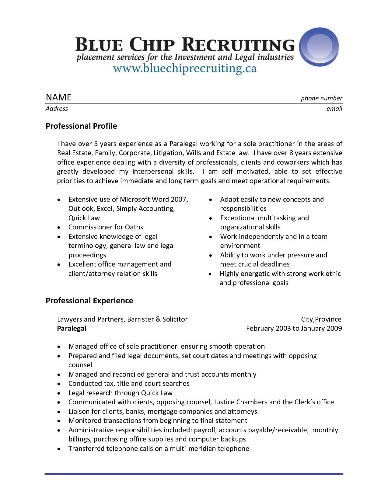 sample resume legal assistant experience professional paralegal professional profile