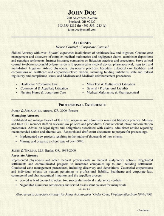 sample resume new attorney resume sle lawyer resume