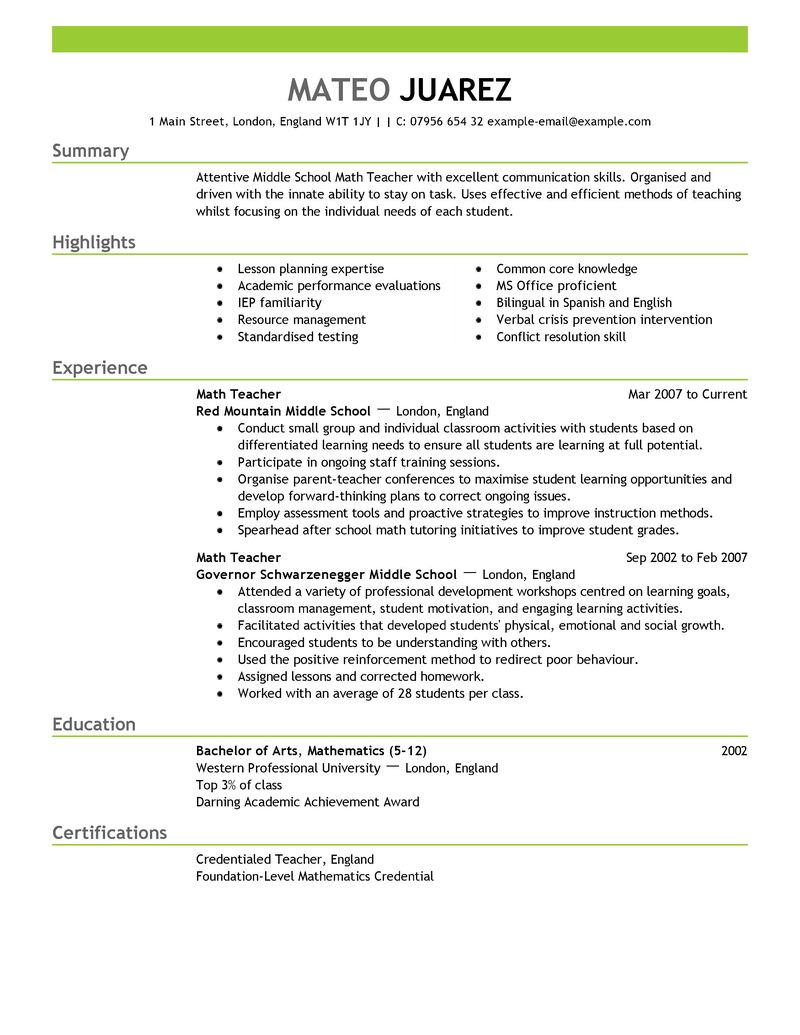 teacher education emphasis resume sample summary highlights