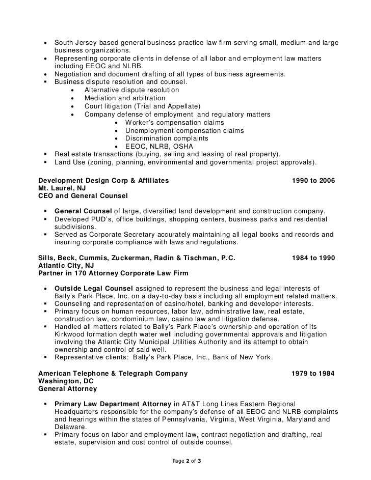 Health Law Attorney Sample Resume