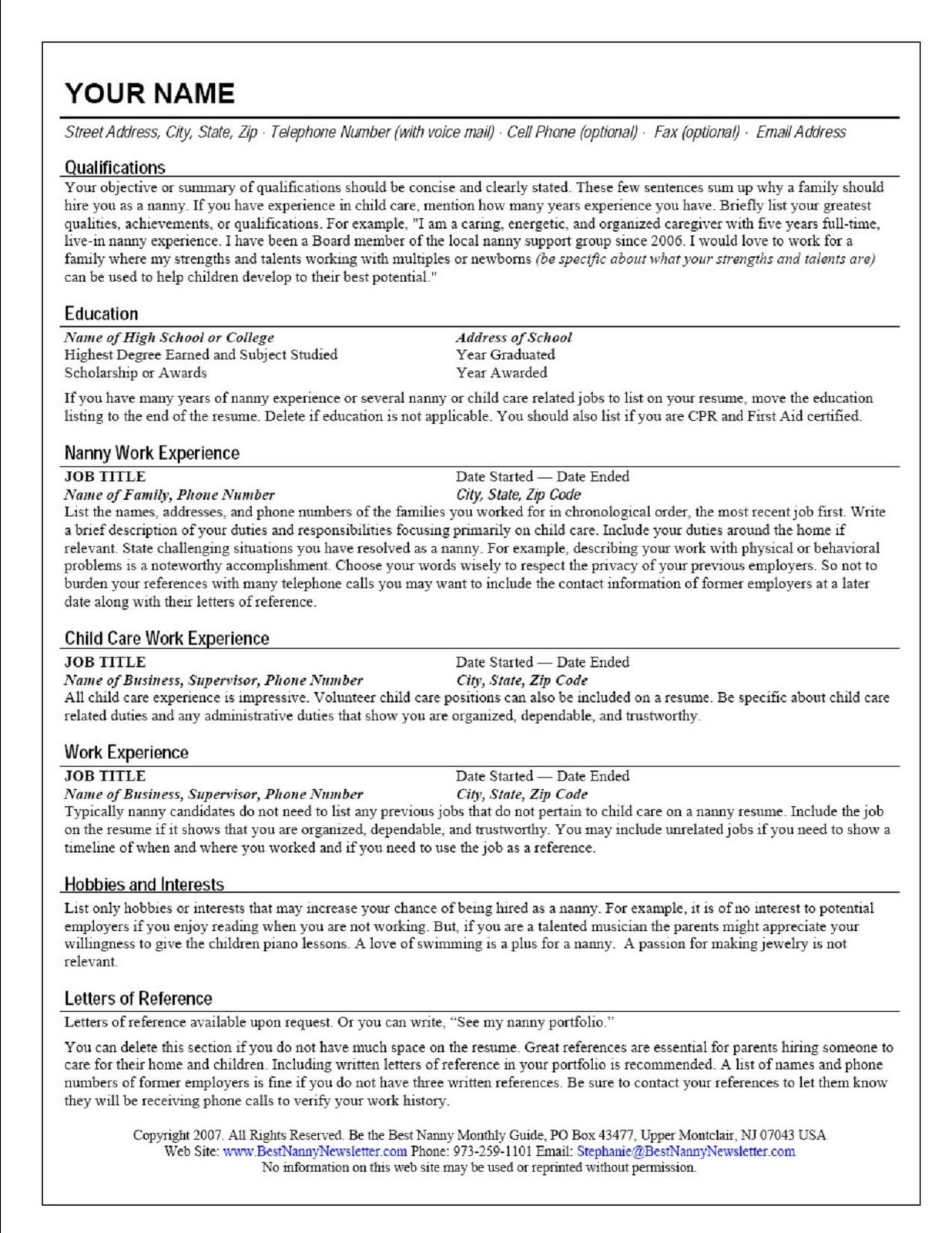 Elderly Caregiver Resume Objective Throughout Sample