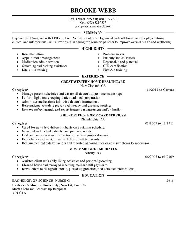 Caregiver healthcare Resume Sample