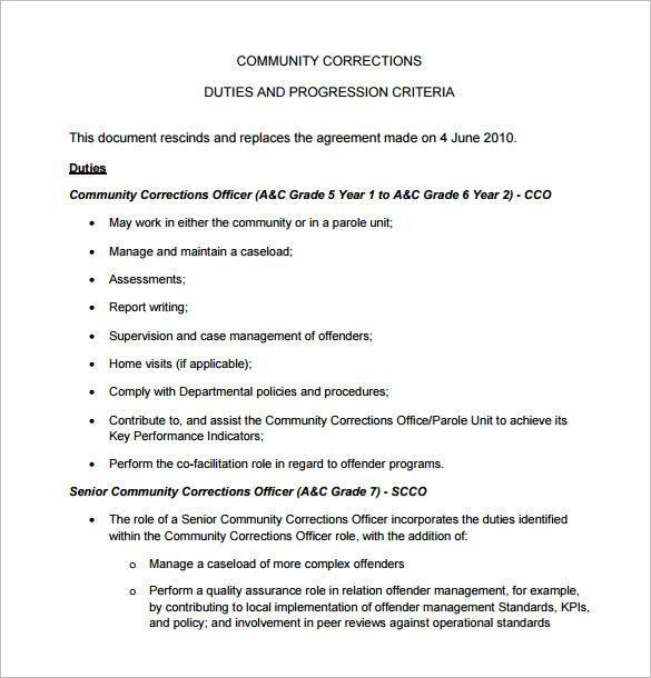 Correction Officer Job Description for Community duties and progression criteria