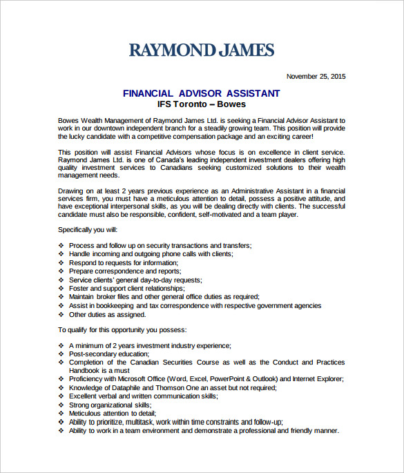 Financial Advisor Assistant Job Description Sample Template Free Download raymond james