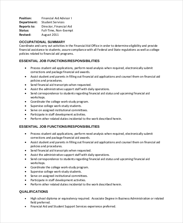 financial associate job description