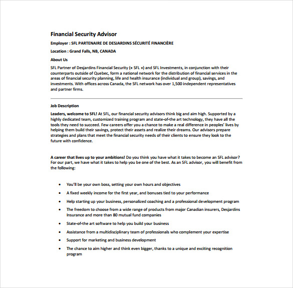Financial Security Advisor Job Description Example Template Free Download