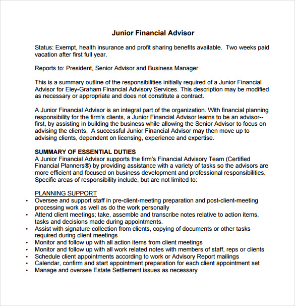 Junior Financial Advisor Job Description Sample Template Free Download
