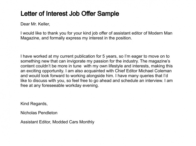 Letter Of Job Interest Sample Job Letter Of Interest Sample Job Letter Of Interest