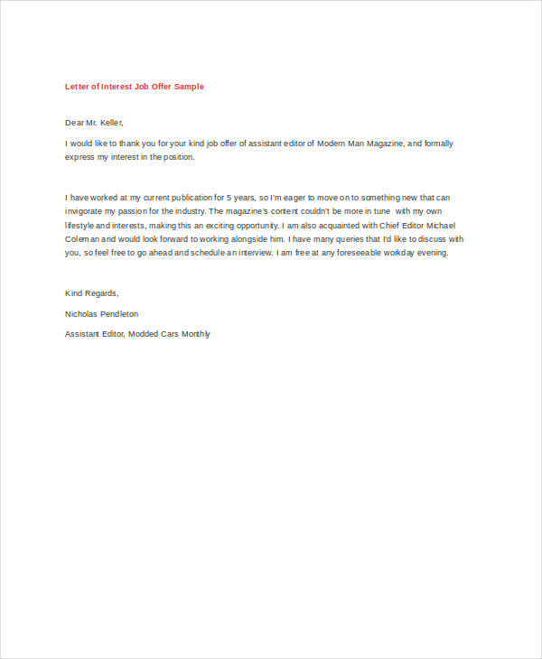 Letter of interest for job sample samplebusinessresume letter of interest for job sample altavistaventures Choice Image