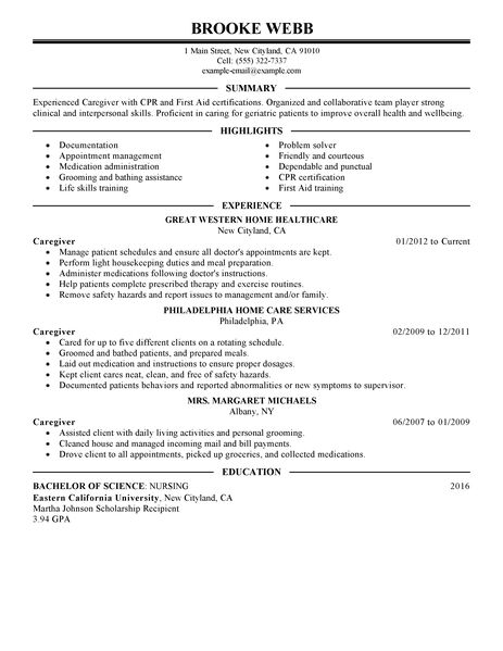 The resume examples below are designed as models of certified caregiver resumes