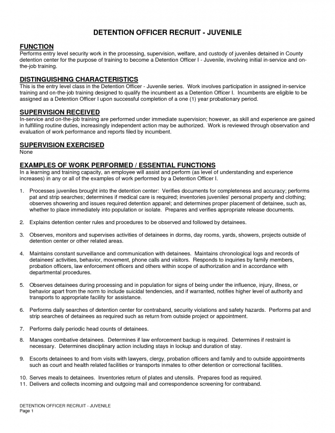 Create Correctional Officer Resume Examples Entry Level Description For  Graduate Or Senior Level  Corrections Officer Resume