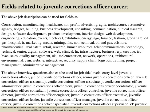 fields related to juvenile corrections officer career