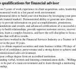 financial advisor job description key job qualifications for financial advisor