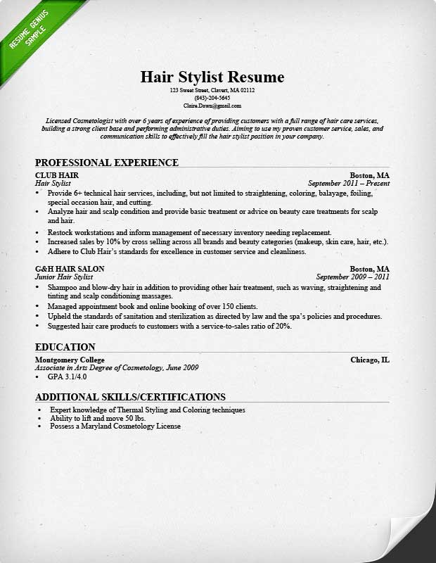 hair stylist resume sample professional experience