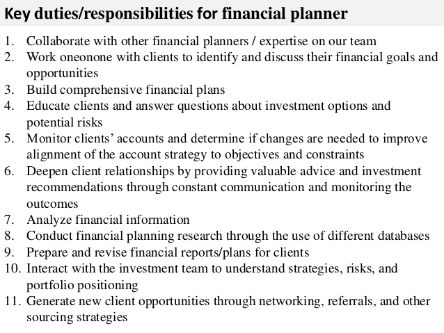 key duties responsibilities for financial planner job