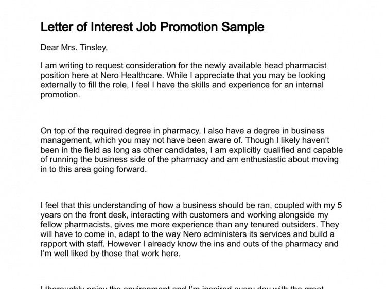 letter of interest job promotion sample letter of interest sample education