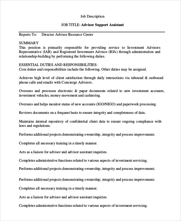 sample financial advisor job description 7 examples in pdf word 40 Job Description For A