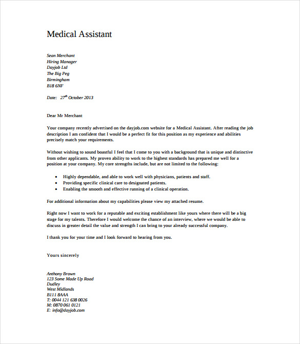 7 Medical Cover Letter Templates Free Sample Example Format