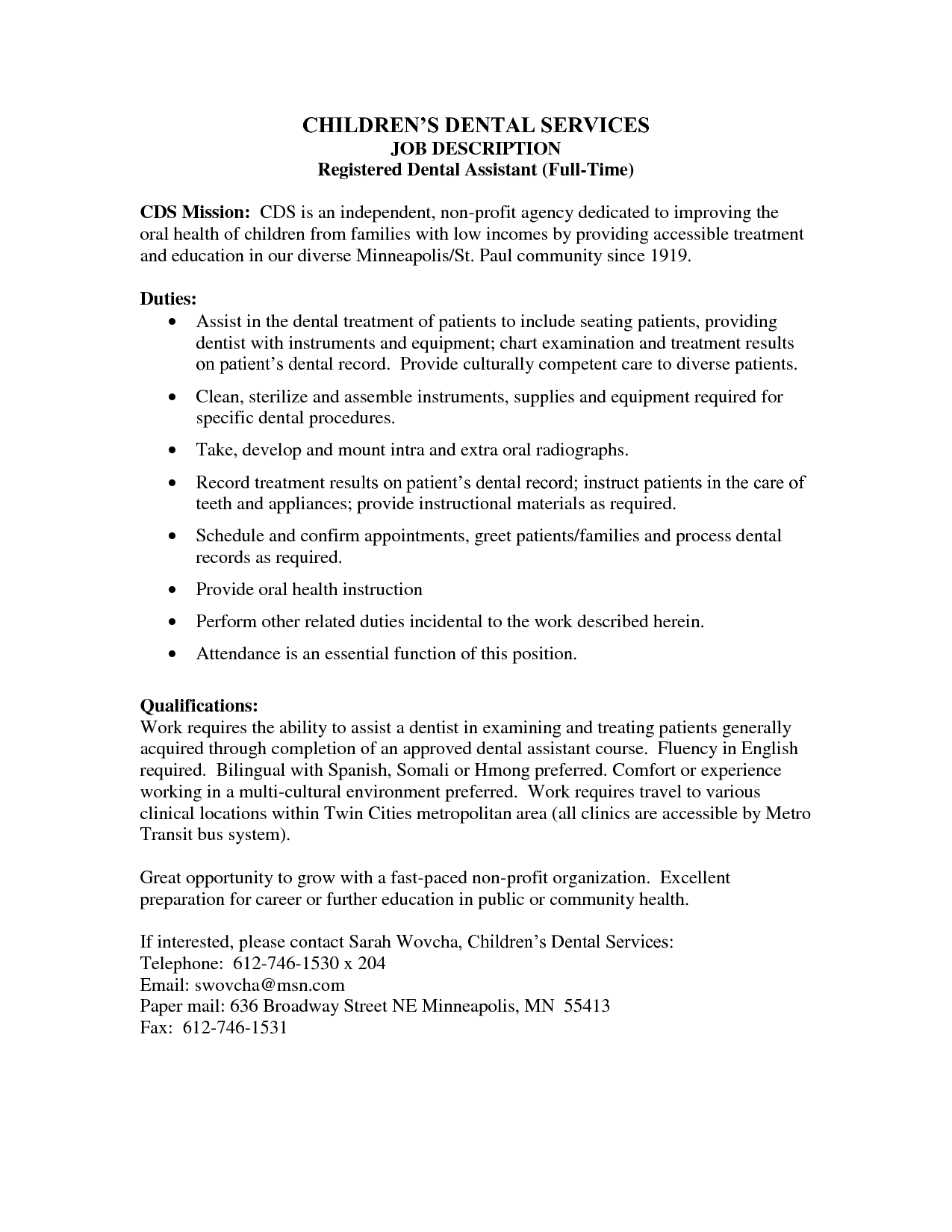 Dental Assistant Skills And Qualifications Registered Dental Assistant Job Description