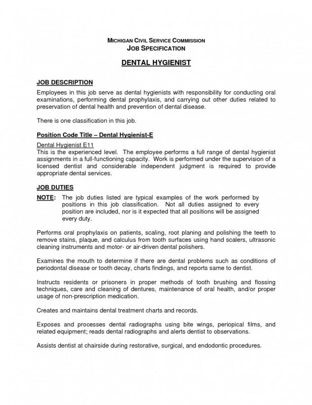 Dentist Hygienist Job Description Example Of Resume For High