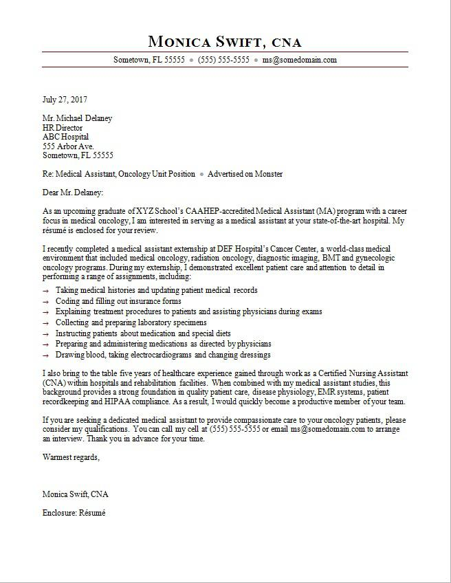 Medical Assistant Cover Letter Sample For Job