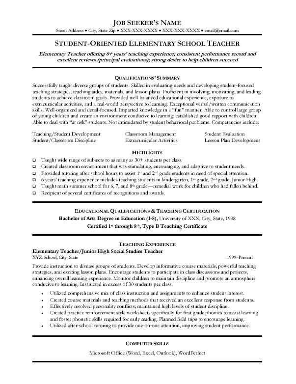 elementary teacher resume template teaching resume kindergartenfirst grade teacher