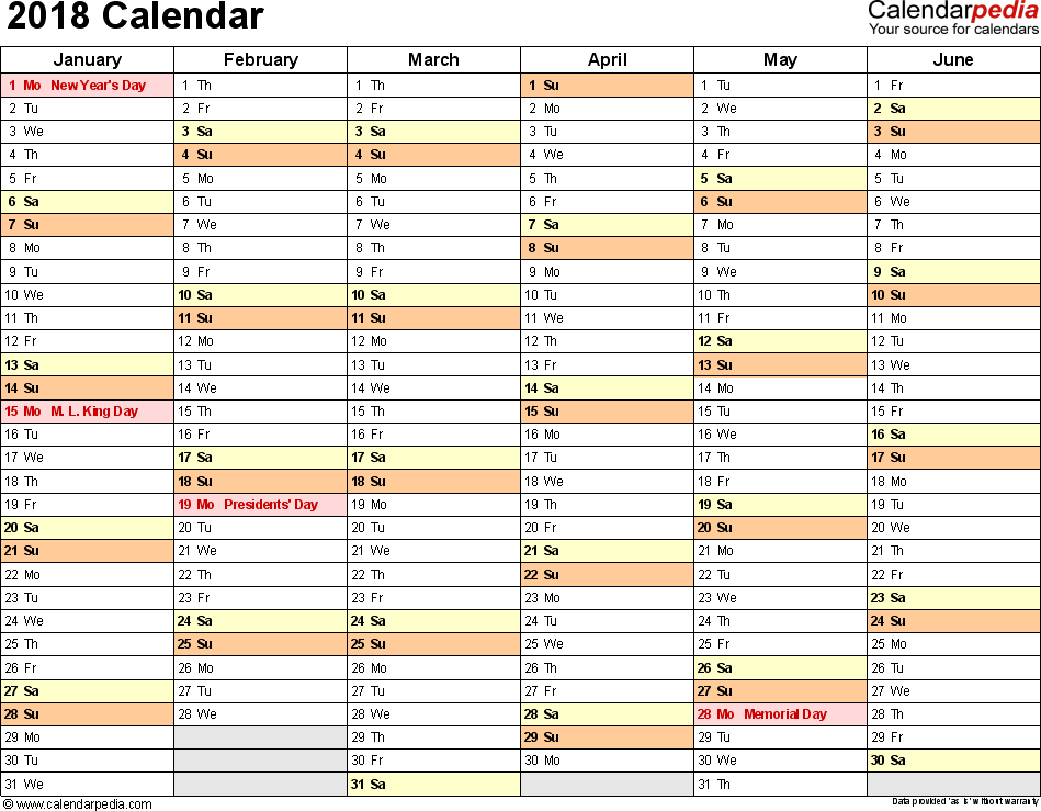 2018 yearly calendar template excel