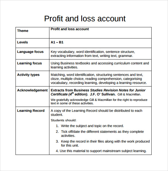 business profit and loss statement template