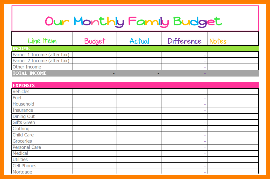 Family Budget spreadsheet-for-bills-monthly budget-comparison-template