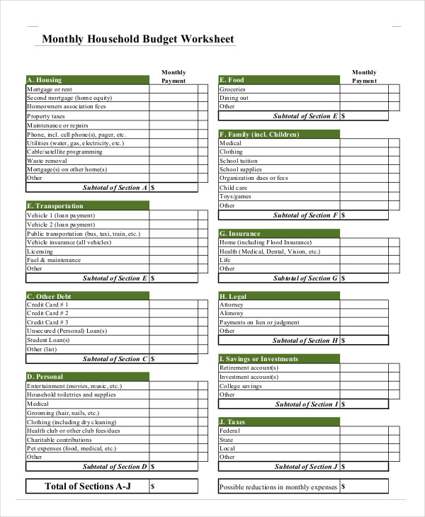 family household budget calculator worksheet template