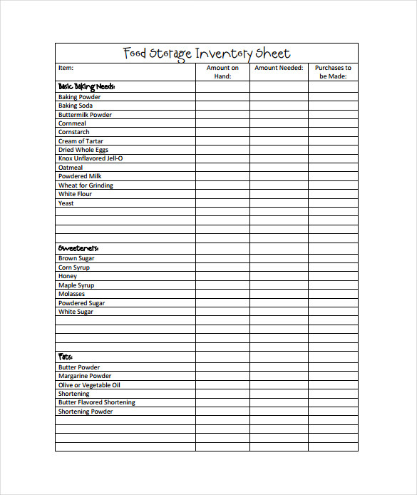 food storage blank inventory sheets pdf template free download
