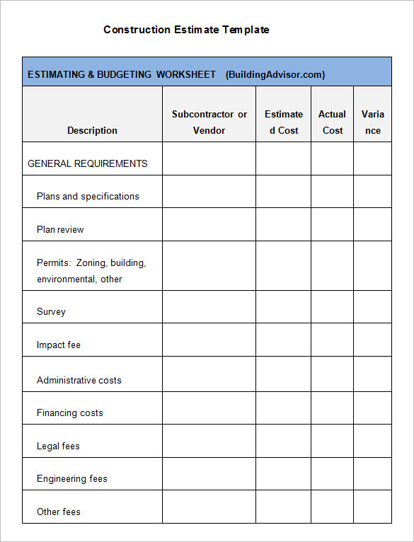 Free residential construction cost estimator excel Template Download