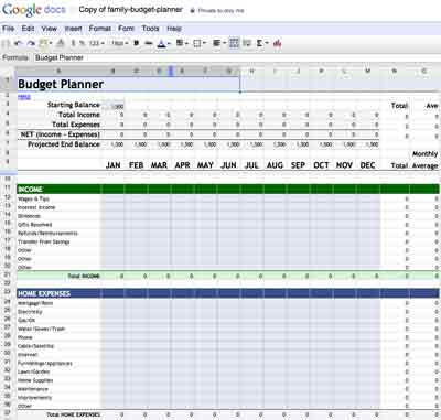 Google monthly business expense template Docs