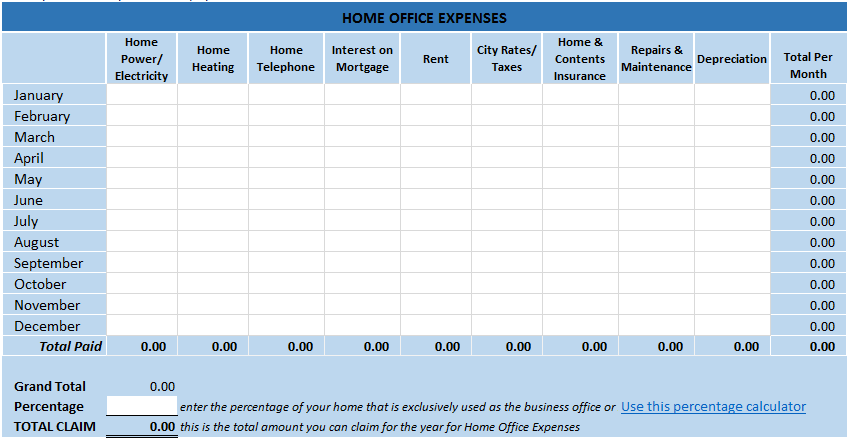 Home Office Tax Expenses Spreadsheet