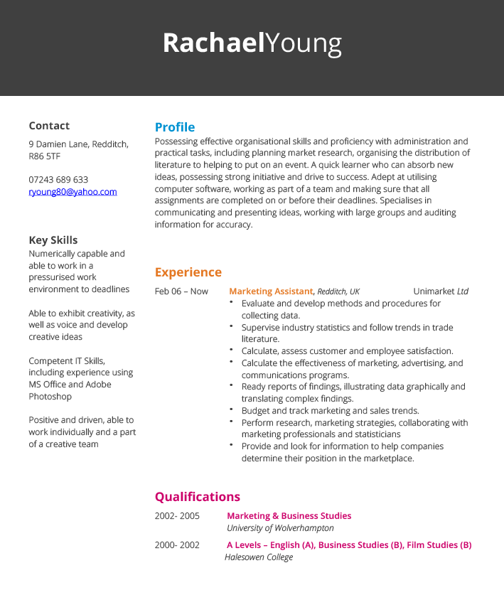 marketing assistant cv example and template
