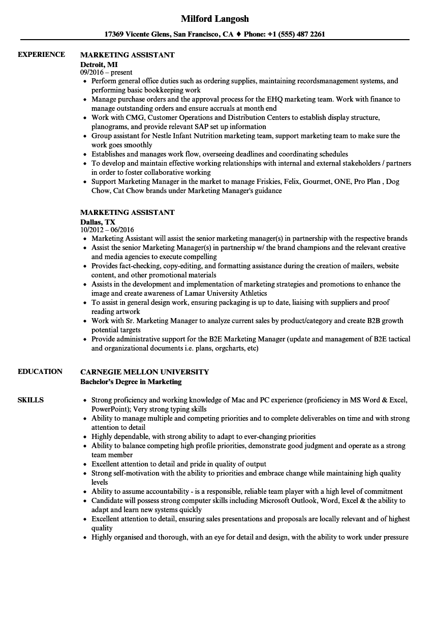 marketing assistant resume sample for resume