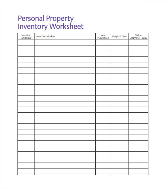 Personal property excel inventory template with formulas Spreadsheet Free PDF Download