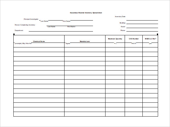 Sample-Hazardous-Material-Inventory blank spreadsheet with gridlines Free Download