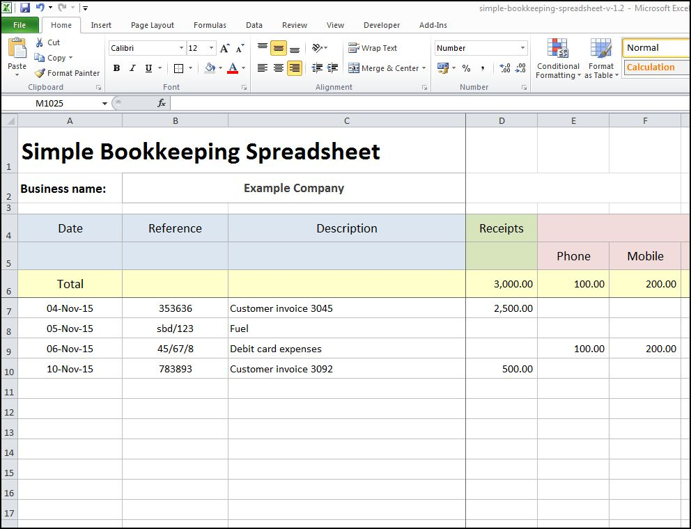 simple bookkeeping spreadsheet template excel 2018