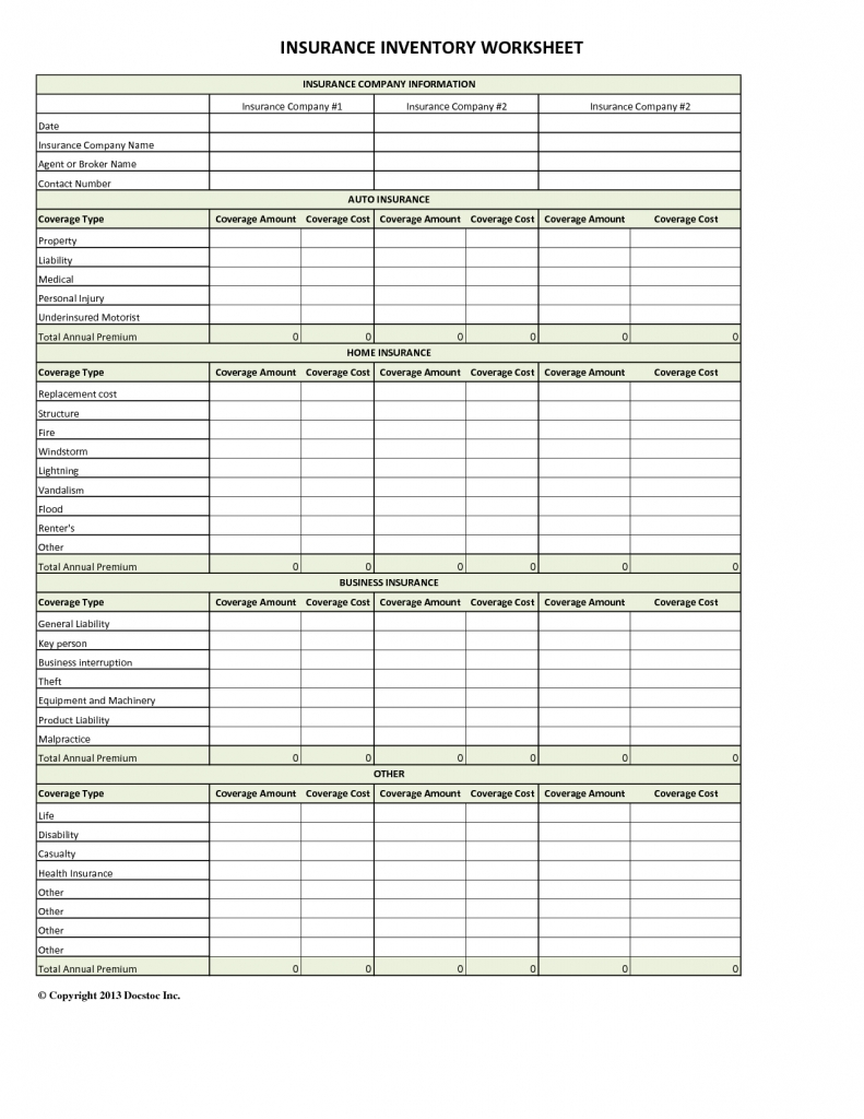 spreadsheet to compare insurance quotes