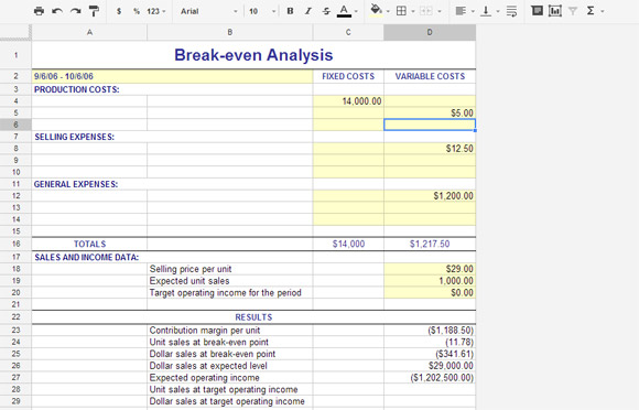 Break Even Analysis Template For Service Industry Google Spreadsheet