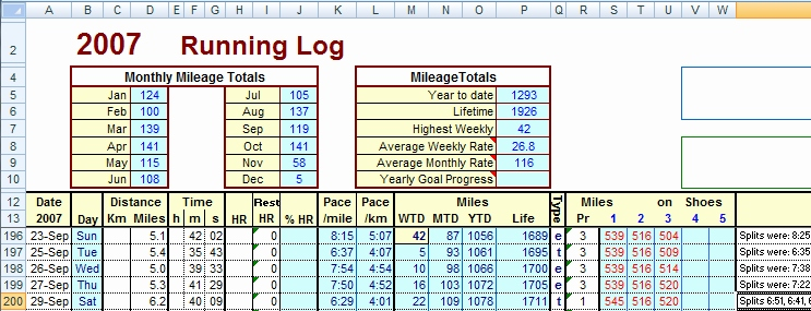 excel spreadsheet training Inspirational Training Logs