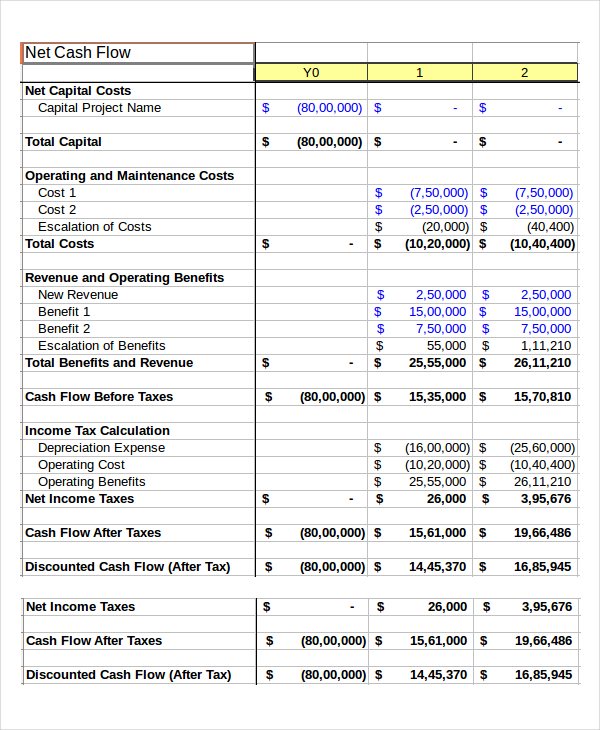 business cash flow worksheet Template