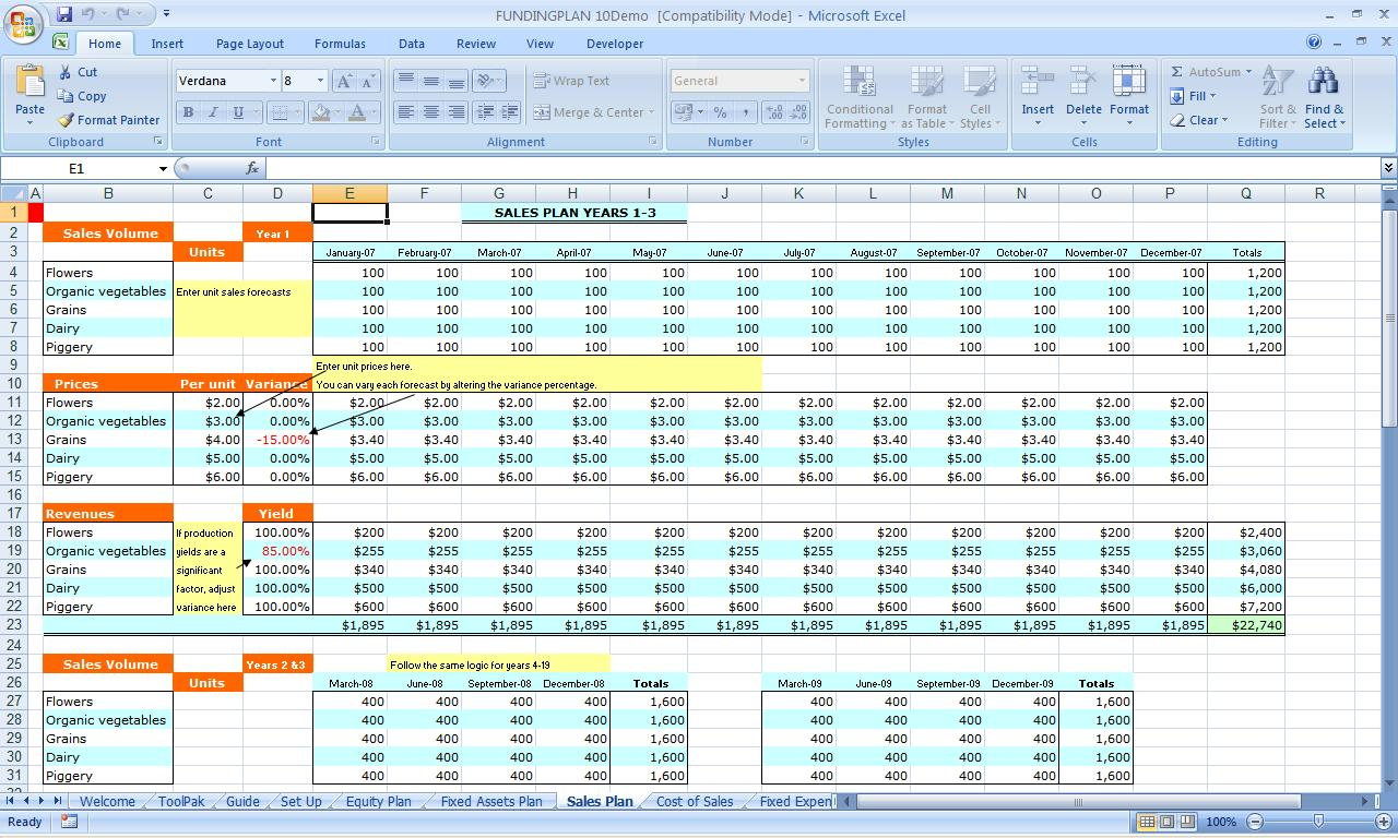 Financial Plan Template Excel Yelommyphonecompanyco - Business plan excel template download