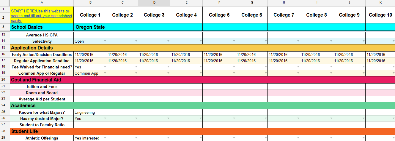 college decision spreadsheet
