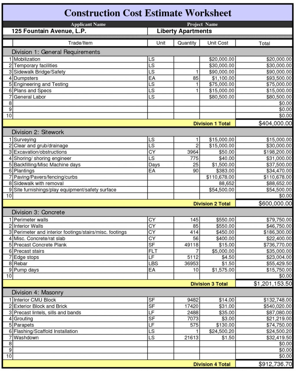 the top 5 construction estimating spreadsheet template. Black Bedroom Furniture Sets. Home Design Ideas