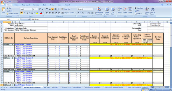 cost estimate construction spreadsheets template